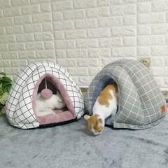 체크무늬 강아지 하우스 텐트 이글루 고양이 숨숨집
