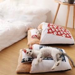 캣배딩 고양이 이불 베개 세트 겨울용 애견하우스 L