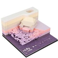 3D입체 기요미즈데라 포스트잇 메모지 볼펜꽂이 퍼플