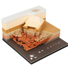3D입체 기요미즈데라 포스트잇 메모지 볼펜꽂이 골드