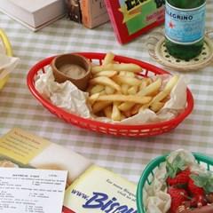 레트로 컬러 스낵 바스켓 3color / 햄버거 튀김 트레이