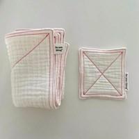 컬러 스티치 포인트 6중 키친크로스/테이블매트 set