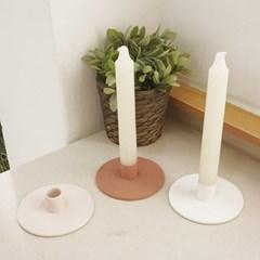 심플 원형 도자기 촛대 (3color)