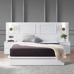 [스코나]멀린스 호텔형 조명 도장 킹 침대(협탁 2개)_(602863381)
