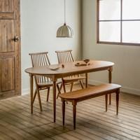 [장미맨숀] 레베카 타원형 원목 테이블 식탁세트 (벤치형/의자형)