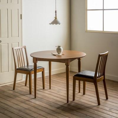 [장미맨숀] 레베카 원형 원목 테이블 식탁세트 (의자형)