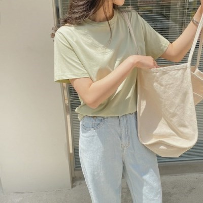 기본 면티 여성 반팔 라운드티셔츠