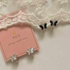 [봄밤달] 나비 자개 원터치 귀걸이