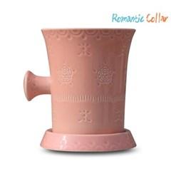 로맨틱 칼라 도자기 물빠짐 수저통(핑크)