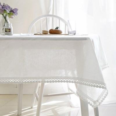 에델린 레이스 린넨 화이트 식탁보 (4size)