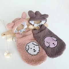 도그웨그 뽀글이 조끼 모자 세트 강아지 겨울 옷