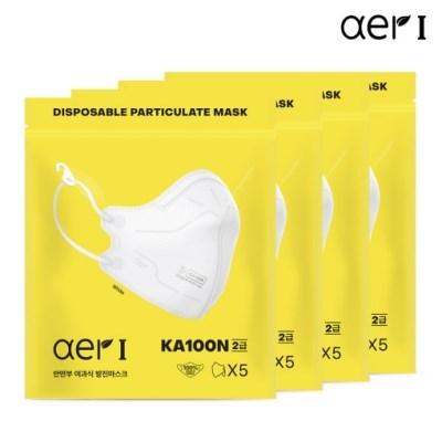 아에르 방진마스크 20매입 KA100N 2급 산업용마스크(화이트)
