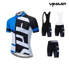 VIMAAP 반팔 져지 싸이클복 자전거의류 - 화이트/블루