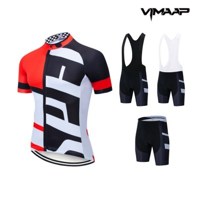 VIMAAP 반팔 져지 싸이클복 자전거의류 - 화이트/레드