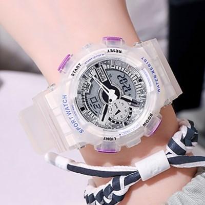 원피스 투명보라 방수 스포츠 손목시계 중학생시계 패션