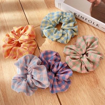 [1+1][5color] 파스텔 색감 깅엄 체크 패턴 스크런치 곱창 머리끈