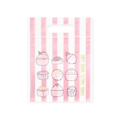 OPP 비닐 지퍼백 핑크 스트라이프 (10개)