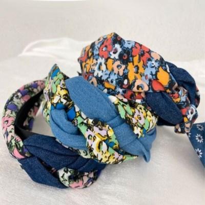 꼬임 댕기 꽃무늬 플라워 두꺼운 데일리 헤어 머리띠