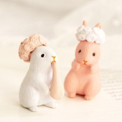 미니어처 화관 토끼 2P세트