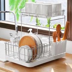 2단 분리 메탈릭 싱크대 설거지 접시 식기 건조대