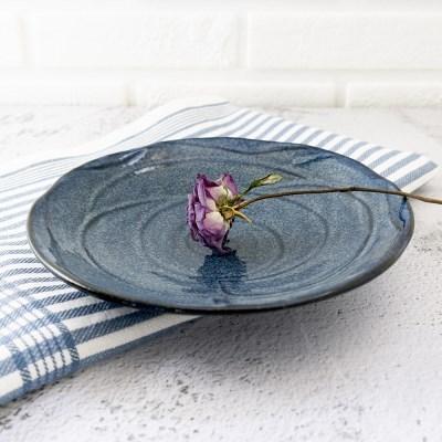 빈티지 블루플라워 양각 접시 데일리접시