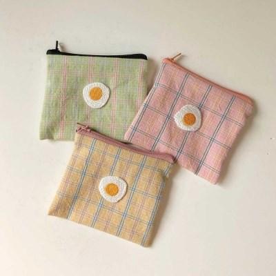 [봄밤달] 키치키치 계란후라이 카드파우치 / 미니파우치