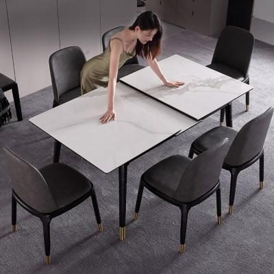 [아이니샵] 대리석무늬 세라믹 익스텐션식탁 의자세트_(328204)