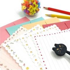 카드박스 가로형 꽃패턴 편선지 4세트-46-0300