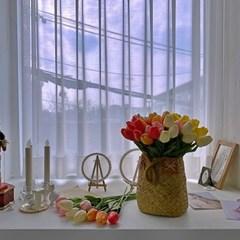소프트 튤립 인테리어 조화 실크플라워 셀프웨딩부케 인조꽃
