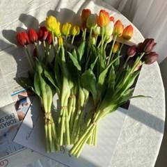 실리콘 망고튤립 조화꽃다발 실크플라워 셀프웨딩부케 리얼조화부쉬