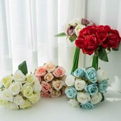 장미조화꽃다발 셀프웨딩부케소품 실크플라워 인조꽃 플라워트리