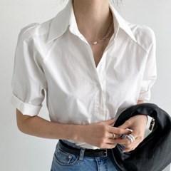 봄 루즈핏 나그랑 빅카라 코튼 롤업 핀턱 반팔 셔츠남방