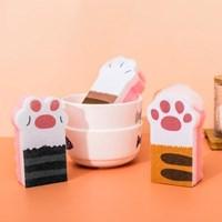 생활살림 냥냥수세미 귀여운 고양이발 스펀지 세척솔