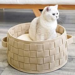 강아지 고양이 짜임 원형 패브릭 바구니 쿠션 방석