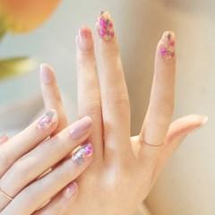 엣지유 샵젤 핑크 썬캐처 붙이는 젤네일