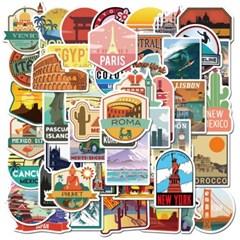 트래블 캠핑 노트북 여행가방 데코스티커 - 세계여행D - 50매