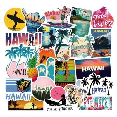 트래블 캠핑 노트북 여행가방 데코스티커 - 하와이 - 50매