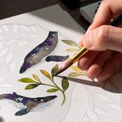 슥 칠해도 아름답게. 꽃잎 수채화 하얀 컬러링북 KIT