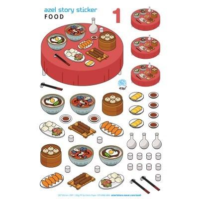아젤스토리스티커_ food isometric set