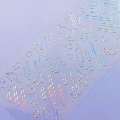 투명금테 투명도100%-Falling Star 칼선 스티커