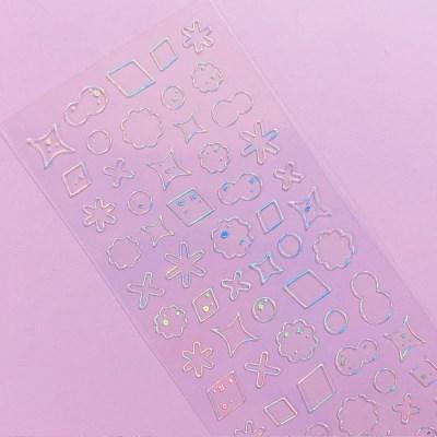 투명금테 투명도100%-Deco Twinkle 2 오로라 칼선 스티커