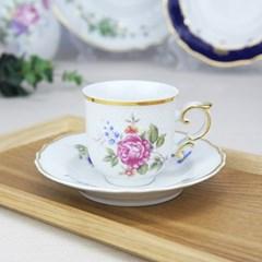 홀로하자 헝가리 왕실도자기 커피컵 소서2p세트 핑크꽃