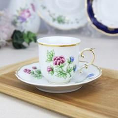 홀로하자 헝가리 왕실도자기 커피컵 소서2p세트 나비