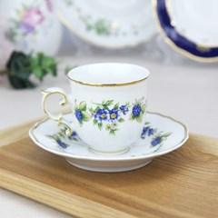 홀로하자 헝가리 왕실도자기 커피컵 소서2p세트 블루베