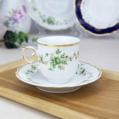 홀로하자 헝가리 왕실도자기 커피컵 소서2p세트 초록꽃