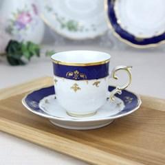 홀로하자 헝가리 왕실도자기 커피컵 소서2p세트 블루