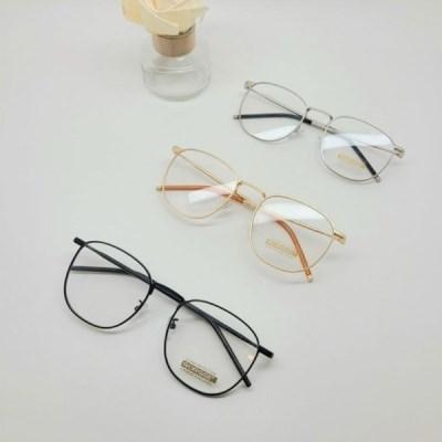 블랙 실버 사각 가벼운 도수없는 데일리 패션 안경
