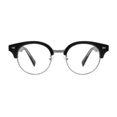 Rinser BLACK SILVER 오버사이즈 라운드 하금테 안경