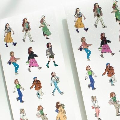 봄길을 걷는 사람 홀로그램 스티커