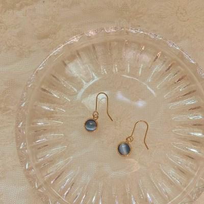 [봄밤달] 블루 캐츠아이 귀걸이 (귀찌변경 가능)